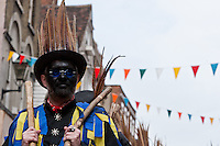 A Morris dancer at the Rochester Sweep`s festival in the cathedral town of Rochester, Medway, Kent, UK May 4th 2008