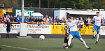 Jon Daly gets the ball into the net but assistant ref Loraine Clark flags the big striker for offside