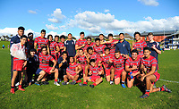 The Kelston team after the Auckland Premier 1A secondary schools match between St Kentigern College and Kelston Boys' High School at St Kentigern College in Auckland, New Zealand on Saturday, 9 June 2018. Photo: Dave Lintott / lintottphoto.co.nz