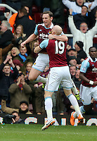Pictured L-R: Kevin Nolan of West Ham celebrating his second goal with team mate James Collins. 01 February 2014<br />