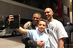 "All My Children's William Christian ""Derek Frye"" along with his son Sam take a selfie with actor Dion Graham in NYC.  (Photo by Sue Coflin/Max Photo)"
