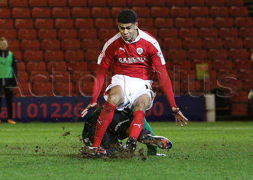 01.03.2016. Oakwell Stadium, Barnsley, England. Skybet League One. Barnsley Ashley Fletcher collides with Coventrys Reice Charles-Cook