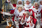 Düsseldorf, Germany. 15 February 2015. Clowns celebrating. Street carnival celebrations take place on Königsallee (Kö) in Düsseldorf ahead of the traditional Shrove Monday parade (Rosenmontagszug).