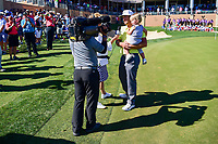 Kevin Chappell (USA) holds his son, Wyatt while being interviewed by CBS Sports analyst, Dottie Pepper following  round 4 of the Valero Texas Open, AT&amp;T Oaks Course, TPC San Antonio, San Antonio, Texas, USA. 4/23/2017.<br /> Picture: Golffile | Ken Murray<br /> <br /> <br /> All photo usage must carry mandatory copyright credit (&copy; Golffile | Ken Murray)