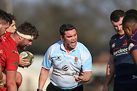 The Referee speaks to players during the Greene King IPA Championship match between London Scottish Football Club and Jersey at Richmond Athletic Ground, Richmond, United Kingdom on 18 February 2017. Photo by David Horn / PRiME Media Images.