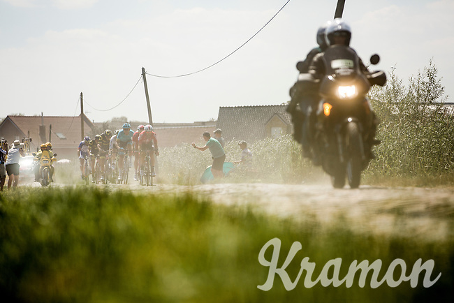 Thomas De Gendt (BEL/Lotto Soudal) leads the breakaway group over the cobbles. <br /> <br /> Stage 9: Arras Citadelle > Roubaix (154km)<br /> <br /> 105th Tour de France 2018<br /> ©kramon