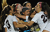Isabella DiBenedetto #24, right, and her North Shore teammates celebrate after their 4-2 win over Manhasset in the Nassau County varsity girls soccer Class A final at Cold Spring Harbor High School on Friday, Nov. 3, 2017.