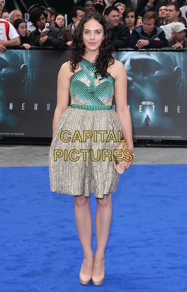 Jessica Brown-Findlay.World Premiere of 'Prometheus' at the Empire, Leicester Square, London, England..May 31st, 2012 .full length green pattern gold beige dress sleeveless clutch bag.CAP/ROS.©Steve Ross/Capital Pictures.