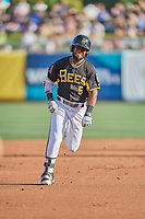 Luis Rengifo (5) of the Salt Lake Bees hustles to third base against the Memphis Redbirds at Smith's Ballpark on July 24, 2018 in Salt Lake City, Utah. Memphis defeated Salt Lake 14-4. (Stephen Smith/Four Seam Images)