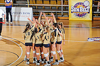 17 November 2011:  FIU's team gets fired up prior to the match.  The FIU Golden Panthers defeated the Denver University Pioneers, 3-1 (25-21, 23-25, 25-21, 25-18), in the first round of the Sun Belt Conference Tournament at U.S Century Bank Arena in Miami, Florida.