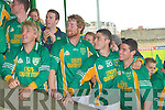 The victorious Castlegregory winner of the Castleisland Mart Junior Club Championship Final 2009. Front l-r:David Dee, Anton Kelliher, Colm Silles, Kevin Kennedy, Joe Scully, Gavin O'Connor, Adrian Finn (Capt), Ryan Kelliher, Greg Moriarty, Alan McNamara, Alan Lynch, Stephen Browne, Gearo?id Fitzgerald and Patrick Lynch. Back l-r: Ger and Caoimhe O'Callaghan,Sarah and David Heasman, Colm O'Connor, Tomas Lynch, Joe Scully,Enda Whelan, Brendan Lynch, James O'Donnell,Shane Hennessy, John Fitzgerald, Sean O'Connor, Shane Kenny, Alan Fitzgerald, Michael O'Shea, David Murphy, Colm O'Mahony, Tommy Reidy, Joe O'Connor, JB Spillane, Liam Maunsell,Sean O'Mahony, Tommy Hogan and Tim Dennehy. ....