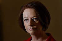 Australian Prime Minister Julia Gillard at a press conference Sunday 23 September 2012  after she arrived iin New York for the  2012 United Nations General Assembly.   photo by Trevor Collens