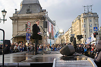 UNGARN, 15.03.2018, Budapest V./ IX. Bezirk. Grosskundgebung der teilweise vereinten linken Opposition am 1848-er Nationalfeiertag an der Freiheitsbruecke: Der links-gruene MP-Kandidat Gerg&ouml; Kar&aacute;csony. | Main manifestation of the partly united left wing opposition parties on the 1848 national holiday at the liberty bridge: The green-leftist PM candidate Gergo Karacsony.<br /> &copy; Martin Fejer/estost.net
