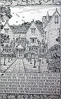 "William Morris:  Kelmscott Manor, Oxford.  Frontispiece,  ""News from Nowhere""--The Kelmscott Press 1892."