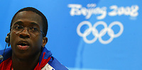 Aug 21, 2008, Beijing, China, Dayron Robles of Cuba attends the press conference after he won the gold medal in the Men's 110m Hurdles during the Beijing 2008 Olympic Games.<br /> Pechino Olimpiadi 2008<br /> Photo CSPA/INSIDEFOTO
