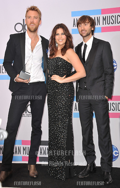 Lady Antebellum stars Dave Haywood, Hillary Scott & Charles Kelley at the 2011 American Music Awards at the Nokia Theatre L.A. Live in downtown Los Angeles..November 20, 2011  Los Angeles, CA.Picture: Paul Smith / Featureflash