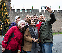 Wales fans take a selfie outside of Cardiff Castle<br /> <br /> Photographer Simon King/CameraSport<br /> <br /> International Rugby Union - 2017 Under Armour Series Autumn Internationals - Wales v Australia - Saturday 11th November 2017 - Principality Stadium - Cardiff<br /> <br /> World Copyright &copy; 2017 CameraSport. All rights reserved. 43 Linden Ave. Countesthorpe. Leicester. England. LE8 5PG - Tel: +44 (0) 116 277 4147 - admin@camerasport.com - www.camerasport.com