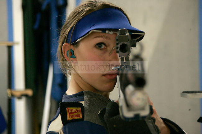 The UK rifle team practices in Baker Hall on Oct. 5, 2009. Photo by Adam Wolffbrandt | Staff
