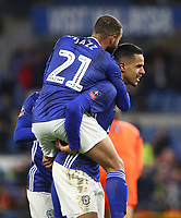 4th February 2020; Cardiff City Stadium, Cardiff, Glamorgan, Wales; English FA Cup Football, Cardiff City versus Reading; Robert Glatzel of Cardiff City celebrates with team mate Jazz Richards after scoring Cardiff City's second goal making it 2-0 in the 54th minute