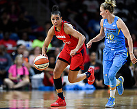 Washington, DC - September 8, 2019: Washington Mystics guard Natasha Cloud (9) drives past Chicago Sky guard Courtney Vandersloot (22) during game between the Chicago Sky and Washington Mystics at the Entertainment and Sports Arena in Washington, DC. The Mystics locked up the #1 seed in the Playoffs by defeating the Sky 100-86. (Photo by Phil Peters/Media Images International)
