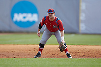 NJIT Highlanders third baseman Bryan Haberstroh (7) on defense against the High Point Panthers at Williard Stadium on February 18, 2017 in High Point, North Carolina. The Panthers defeated the Highlanders 11-0 in game one of a double-header. (Brian Westerholt/Four Seam Images)