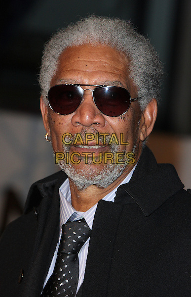 "MORGAN FREEMAN .Attending the ""Invictus'"" UK Film Premiere at the Odeon West End cinema, Leicester Square, London, England, January 31st, 2010..arrivals portrait headshot beard sunglasses facial hair aviators black tie grey gray hoop earring .CAP/ROS.©Steve Ross/Capital Pictures"