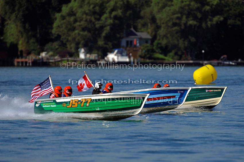 "(L to R): Brian DeGlopper, JS-77 ""Zippy Pickle"", (Baron Jersey Speed Skiff), Bill DeGlopper, JS-78 ""Flyin High"", (1980 Paraskevas Jersey Speed Skiff) and JS-20"