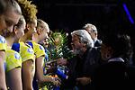 28.10.2018, TUI Arena, Hannover<br />Volleyball, Supercup, Siegerehrung<br /><br />Jennifer Geerties (#6 Schwerin) erhaelt Medaille<br /><br />  Foto © nordphoto / Kurth