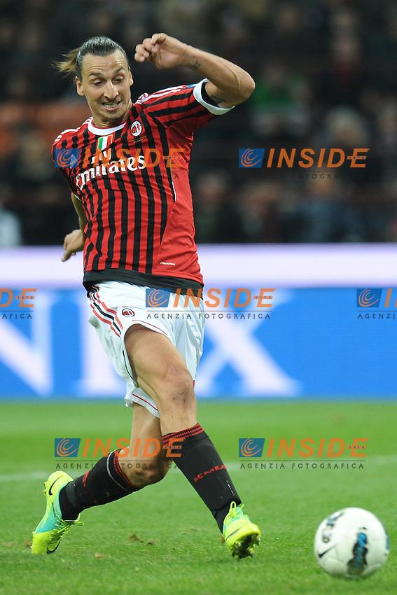 "Il gol di Zlatan IBRAHIMOVIC (Milan) goal celebration.Milano 26/10/2011 Stadio ""Giuseppe Meazza"".Serie A 2011/2012.Football Calcio Milan Vs Parma.Foto Insidefoto Alessandro Sabattini."