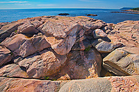 Rocky shoreline along the Cabot Strait (Atlantic Ocean) at Lakies Head. Cabot Trail. Cape Breton Island.<br />