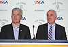 Steve Bellone, Suffolk County Executive, left, sits alongside Southampton Town Supervisor Jay Schneiderman during a news conference regarding transportation and parking on Sunday, June 10, 2018 at Shinnecock Hills Golf Club, which is hosting the 118th US Open Championship.