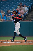 Richmond Flying Squirrels Johneshwy Fargas (8) hits a home run during an Eastern League game against the Bowie Baysox on August 15, 2019 at Prince George's Stadium in Bowie, Maryland.  Bowie defeated Richmond 4-3.  (Mike Janes/Four Seam Images)
