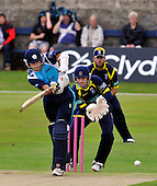 Cricket CB40 - Scottish Saltires V Hampshire Royals at Mannofield - Aberdeen - Saltire Kyle Coetzer steers the ball away from Royals keeper Michael Bates - Ceotzer went on to make 50 - Picture by Donald MacLeod - 14.08.11 - 07702 319 738 - www.donald-macleod.com