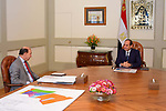 Egyptian President Abdel Fattah al-Sisi meets with Head of the Suez Canal Authority Mohab Memish, in Cairo, Egypt, on October 17, 2017. Photo by Egyptian President Office