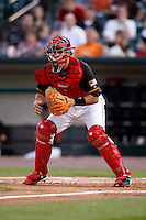 August 3, 2009:  Catcher Drew Butera of the Rochester Red Wings delivers a pitch during a game at Frontier Field in Rochester, NY.  The Red Wings are the Triple-A International League affiliate of the Minnesota Twins.  Photo By Mike Janes/Four Seam Images