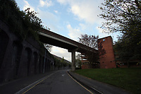 Pictured: The bridge that connects the train station to the car park. Friday 28 April 2017<br />Re: A man who threatened to jump off a bridge connecting the railway station and the High Street car park in, Swansea, south Wales has been removed by police officers.