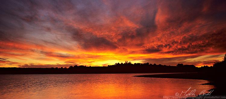 sunset over Chew Vally Lake, Somerset
