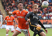 Blackpool's Jordan Thompson and Bradford City's Josh Wright<br /> <br /> Photographer Rachel Holborn/CameraSport<br /> <br /> The EFL Sky Bet League One - Blackpool v Bradford City - Saturday September 8th 2018 - Bloomfield Road - Blackpool<br /> <br /> World Copyright &copy; 2018 CameraSport. All rights reserved. 43 Linden Ave. Countesthorpe. Leicester. England. LE8 5PG - Tel: +44 (0) 116 277 4147 - admin@camerasport.com - www.camerasport.com