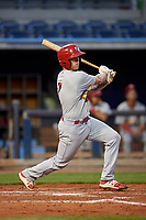 Palm Beach Cardinals center fielder Shane Billings (7) follows through on a swing during a game against the Charlotte Stone Crabs on April 20, 2018 at Charlotte Sports Park in Port Charlotte, Florida.  Charlotte defeated Palm Beach 4-3.  (Mike Janes/Four Seam Images)