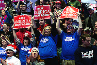"""Hershey, PA - December 15, 2016: Supporters cheer as president-elect Donald J. Trump speaks at a rally during his """"Thank You Tour"""" at the Giant Center in Hershey, PA, December 15, 2016.  (Photo by Don Baxter/Media Images International)"""