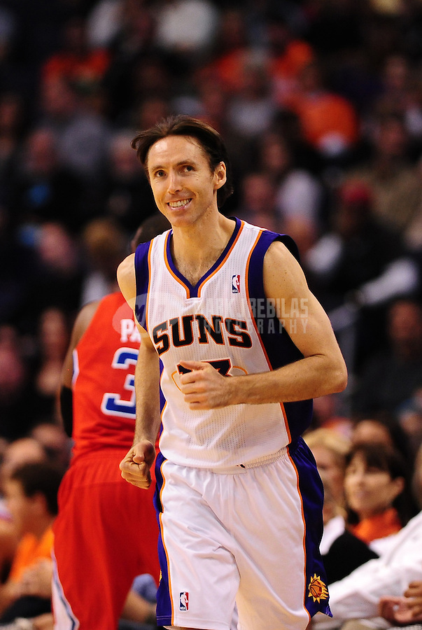 Mar. 2, 2012; Phoenix, AZ, USA; Phoenix Suns guard Steve Nash against the Los Angeles Clippers at the US Airways Center. The Suns defeated the Clippers 81-78. Mandatory Credit: Mark J. Rebilas-USA TODAY Sports