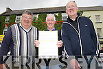Brendan Danaker (Mt Collin and Brosnan Anglers) holds up a letter of protest he hopes to hand it over to the Fisherie Board who were at a meeting in The Listlowel Arms Hotel on Wednesday l-r: Paddy Sullivan (Abbeyfeale Anglers) Brendan Danaker (Mt Collin-Brosnan Anglers) and Anthony McAuliffe (secretary North Kerry Anglers).................................................................... ........