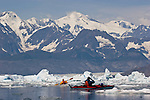 Alaska, Prince William Sound, Sea kayakers, Columbia Bay, Columbia Glacier, Icebergs, Brash Ice, Chugach Mountains, USA, David Fox, Elliot Marks, Galen Tritt, released,.