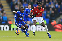 Nampalys Mendy of Leicester City and Paul Pogba of Manchester United during the Premier League match between Leicester City and Manchester United at King Power Stadium on February 3rd 2019 in Leicester, England. (Photo by Leila Coker/phcimages.com)<br /> Foto PHC Images / Insidefoto <br /> ITALY ONLY