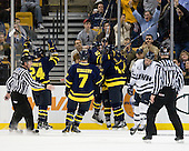 Chris Millea, Stephane Da Costa (Merrimack - 24), Karl Stollery (Merrimack - 7), Brendan Ellis (Merrimack - 22), (Collins, Todd), Connor Hardowa (UNH - 2), Bob Bernard - The Merrimack College Warriors defeated the University of New Hampshire Wildcats 4-1 (EN) in their Hockey East Semi-Final on Friday, March 18, 2011, at TD Garden in Boston, Massachusetts.