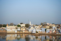 Pushkar is a town in the Ajmer district in the Indian state of Rajasthan. It is situated about 10&nbsp;km northwest of Ajmer and about 150 kilometres (93&nbsp;mi) southwest of Jaipur. <br />