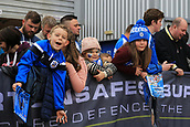 30th September 2017, The John Smiths Stadium, Huddersfield, England; EPL Premier League football, Huddersfield Town versus Tottenham Hotspur; Young Huddersfield fans await their teams arrival