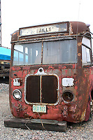 Dilapidated bus being exhibited at the Minnesota Transportation Museum's Jackson Street Roundhouse.  St Paul Minnesota USA
