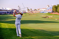 Tommy Fleetwood (ENG) on the 18th fairway during the final round of the DP World Tour Championship, Jumeirah Golf Estates, Dubai, United Arab Emirates. 24/11/2019<br /> Picture: Golffile | Fran Caffrey<br /> <br /> <br /> All photo usage must carry mandatory copyright credit (© Golffile | Fran Caffrey)