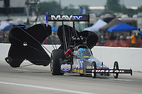 Apr. 29, 2012; Baytown, TX, USA: NHRA top fuel dragster driver Brandon Bernstein during the Spring Nationals at Royal Purple Raceway. Mandatory Credit: Mark J. Rebilas-